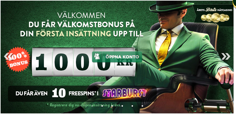 mr green bonus 1000 kr 100%